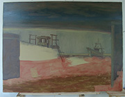 painting in progress Dungeness boats