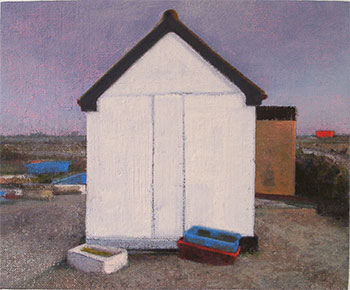Wooden shed painting Dungeness beach