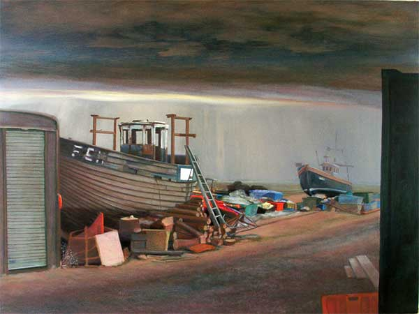 Atmospheric beached hulk and boat large oil painting