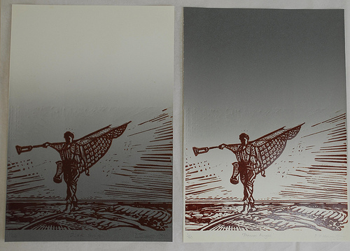Beach angel lino cut multiple on quality paper
