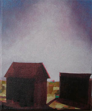 Oil painting of sun baked sheds