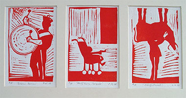 British bank holiday linocut print set of three prints.