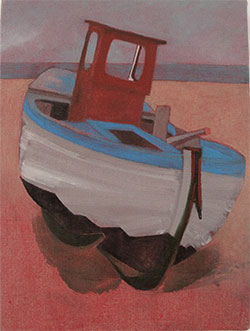 Small oil painting of a fishing boat