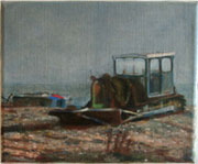 Wistful oil painting of a fishing tractor on Dungeness beach Kent.