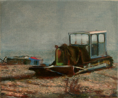 Wistful oil painting of a fishing tractor at Dungeness Kent
