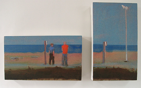 Diptych a figurative oil painting of two blokes on the beach at Dungeness