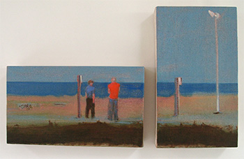 Dungeness menon the beach diptych painting