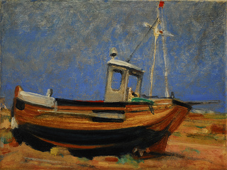 Oil Painting in warm muted tones, Small painting, Our Cathlene,'Fleet', beach, Dungeness, boat, fishing