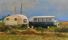 Classy combi camper oil painting of Dungeness Beach