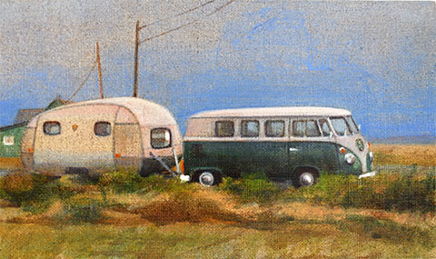 Colourful oil painting of a Combi and caravan on the beach at Dungeness