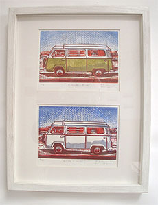 Framed double VW Combilino cut
