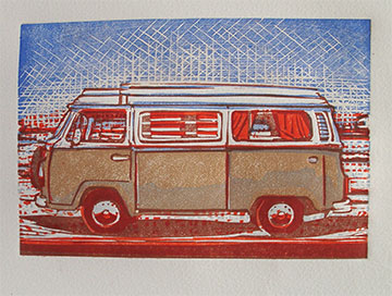 Lino cut print VW bus on Arches quality paper
