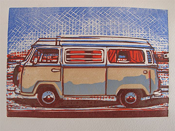 linocut prints of a VW Combi camper
