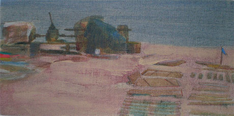 Oil paintings on linen. A wooden fishing cottage surrounded by telegraph poles on the East-side beach at Dungeness in Kent