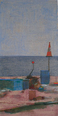 Diptych a landscape oil painting of fishing equipment on the working beach at Dungeness in Kent U.K.