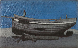 3 small figurative paintings of boats