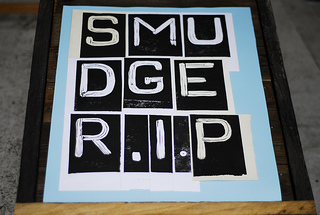 Font, SMUDGER R.I.P., the beach, linocut, print, Dungeness