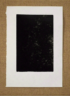 Font Void, B;ank, Space linocut, print, Dungeness