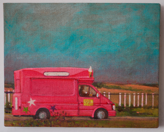 Colourful oil painting of a pink Ice Cream van on the beach at Dungeness