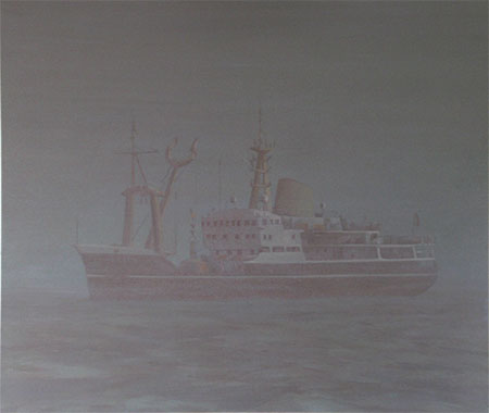 Large ghost ship oil painting