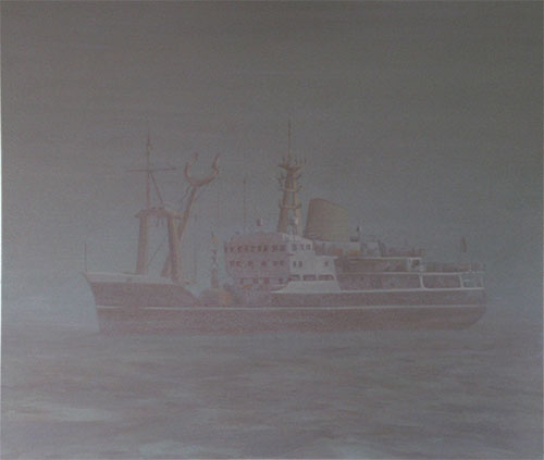 Atmospheric ghost ship painting
