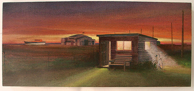 Wooden shed in the night painting Dungeness beach