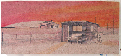 Shed early underpainting Dungeness beach border=