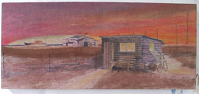 Shed underpainting process Dungeness beach border=