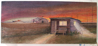 Shed in the night underpainting Dungeness beach