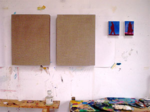 sized linen stretchers and preparatory pocket paintings Dungeness