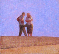 Beach couple Dungeness oil paintings  border=
