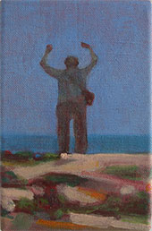 Dungeness beach UK, Colourful oil painting of a man in rapture by the sea =