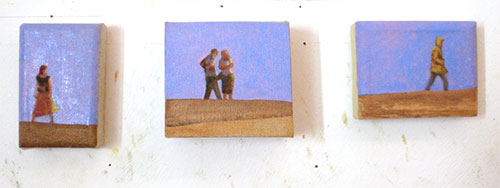 Small bright figurative beach paintings