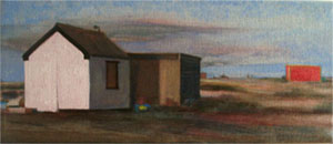 Evening painting of Dungeness Beach, Kent