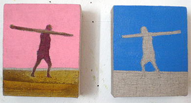 Small sqyare bright figurative beach paintings