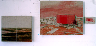 Medium sized bright oil paintings in progress Dungeness beach