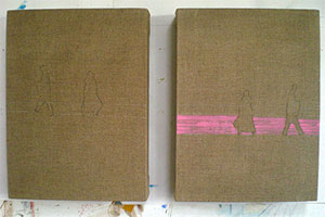 sized linen stretchers drawing and hot pink band paintings Dungeness