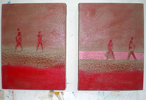 Cadmium red size on linen  paintings Dungeness