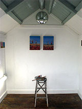 Dungeness Open Studio 2 little couple oil on linen painting finishing day