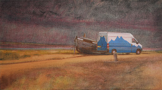 Beach  Dungeness beach, oil painting