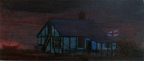 Landscape oil night painting of Dungeness in Kent
