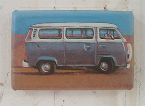 Small commissioned paintings Orange Combi on Dungeness beach