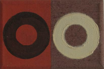 Oil Painting diptych doughnuts do linen