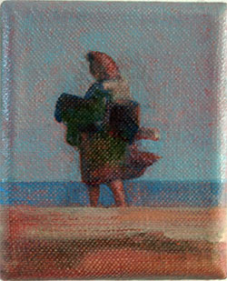 pocket painting blustery lady at Dungeness