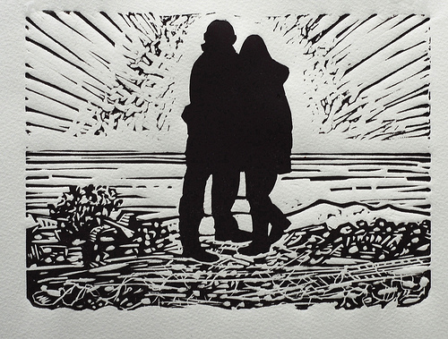 Couple on the beach at Dungeness, lino cut, print, fine art print, love