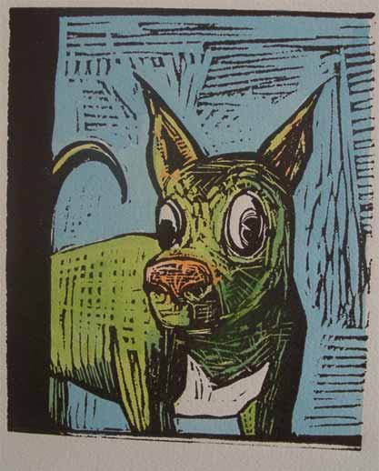 Lino cut of That dog on quality paper