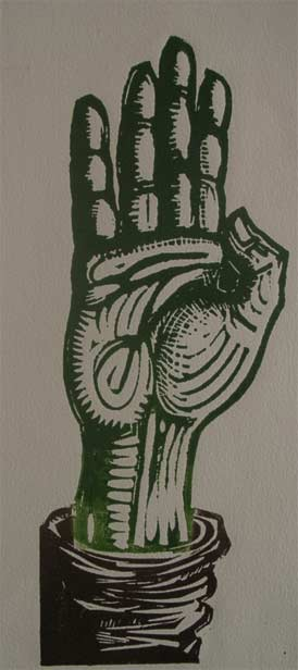 Lino cut five digits fingers outstretched