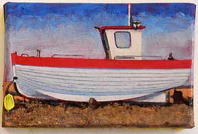 Oil Painting in warm muted tones, Small painting, Rebecca,'Fleet', beach, Dungeness, boat, fishing