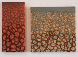 shingle waves on the beach Dungeness diptych oil painting