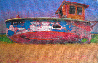oil on linen beached boats dungeness